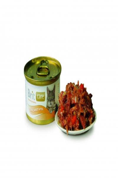 Брит Консервы д/кошек Brit Care Tuna,Carrot&Pea Тунец, морковь и горошек, 80г