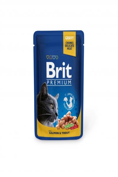 Брит премиум Пауч д/кошек Salmon & Trout Лосось и форель, 100г
