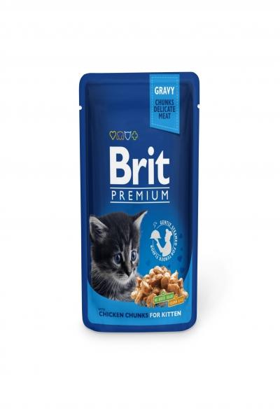 Брит премиум Пауч д/котят Chicken Chunks for Kitten Курица для котят, 100г