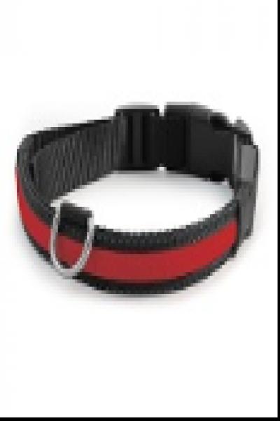 LD06S Ошейник светодиодный красный, 20*230-310мм