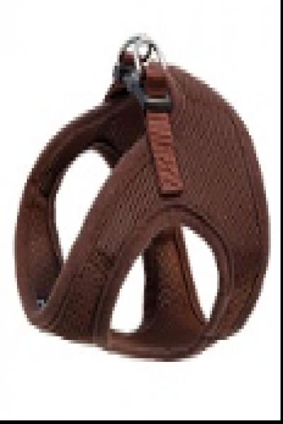 HL03S Комплект мягкая шлейка-жилетка и поводок, коричневый, обхват груди 350мм, поводок 15*1200мм