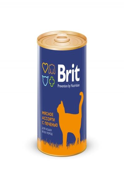 БРИТ Консервы для кошек BEEF AND LIVER MEDLEY Мясное ассорти с печенью, 340 г